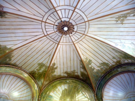 The domed bamboo-supported ceiling of The Birdcage Room, Grovelands House, London.