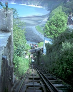 Lynton cliff railroad: looking down the cliff railroad towards Lynmouth.
