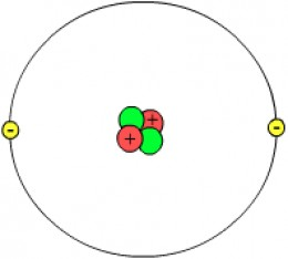 Image by Svdmolen/Jeanot The diagram shows 2 protons (in red) and 2 neutrons (in green) so this atom has four nucleons. There are two electrons round the outside