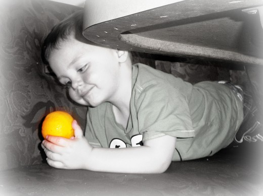The boy and his orange