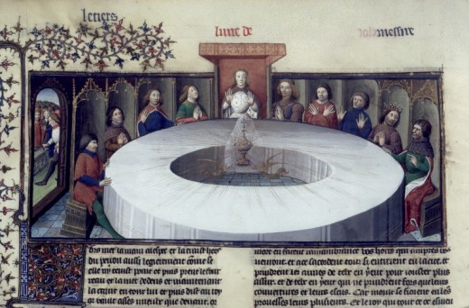 Arthur and the round table with the holy grail.