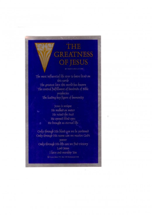 THE GREATNESS OF JESUS By BERNARD LEVINE