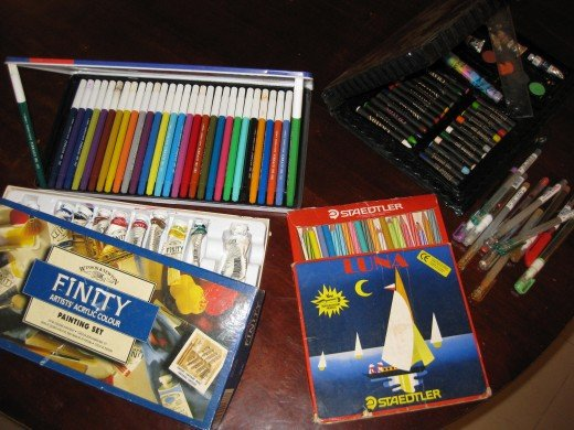 My collection of coloring materials