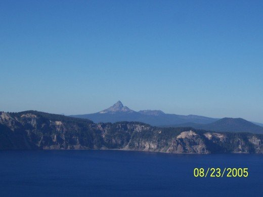 View of the mountains on the far side of Crater Lake.