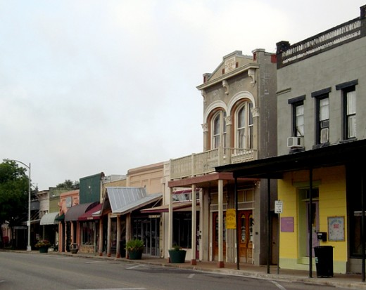 Main Street, Bastrop, Texas, United States. Part of the Bastrop Commercial District which was added to the National Register of Historic Properties on December 22, 1978.