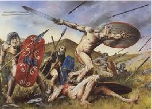 This is the image Tacitus gives us of naked early Germanic warriors - could be painful if they were caught out late after the fighting - Tacitus was working on hearsay, not personal observation
