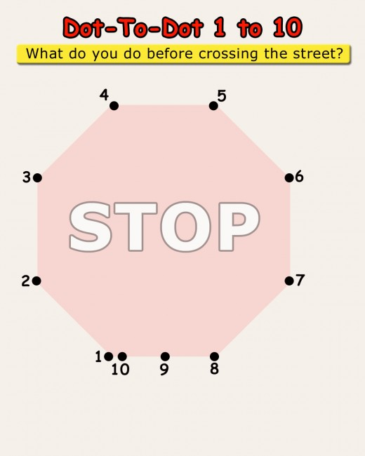 Answer the question at the top by completing the dot-to-dot game 1 to 10!