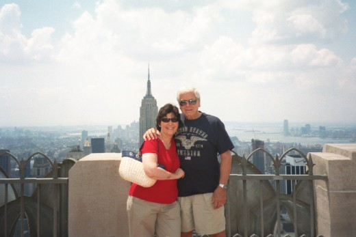 Chuck and I at the top of Rockefeller Center in New York City, one of the 1st trips on our Bucket List!