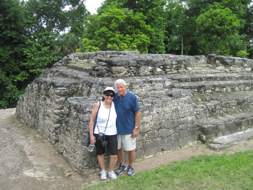 Together exploring Mayan ruins on a cruise excursion in Costa Maya.