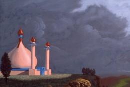 "My painting, ""Palace of Ari-Delia"" (detail), 30x60, acrylic on canvas. Copyright Carl Martin."