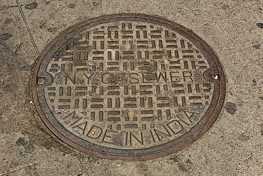 note this NYC manhole cover was made in India, talk about outsourcing © Eric Heifetz