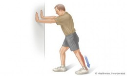#1: Strengthen and stretch your calf muscles: Stretch with knee straight.