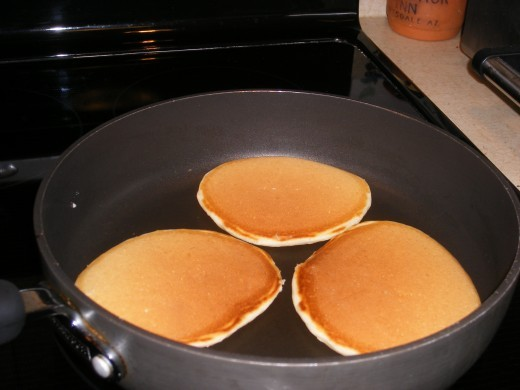 A lightly brown color means pancakes are done to perfection!
