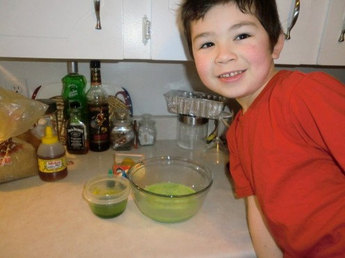 My Son,  he was so excited to be making Green Eggs & Ham!! (His favorite color i Green!! :)