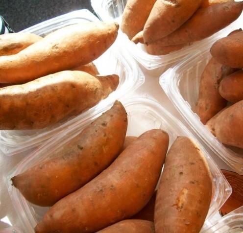 Sweet potatoes at the market.