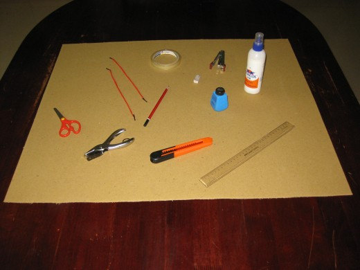 The tools required for creating artwork wall hangings.