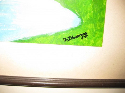 My signature on one of my paintings.