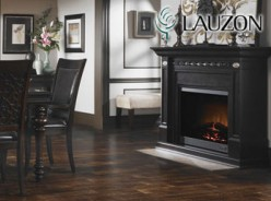 Dark finish solid hardwood flooring.