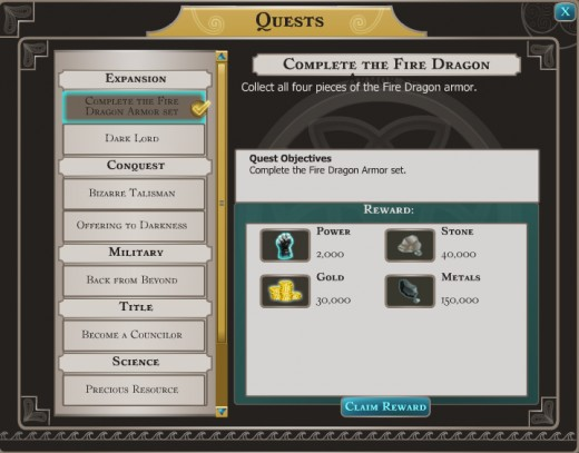 Quest reward for finding all of your Fire Dragon Armor