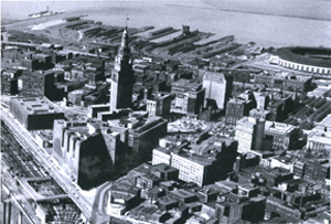 In this old aerial of downtown Cleveland, note the ego statement and branding achieved by The Terminal Tower of the van Sweringen brothers