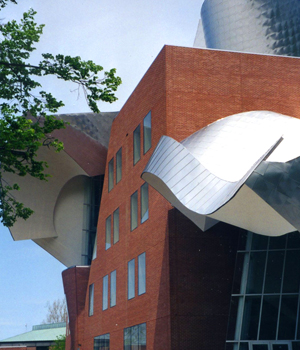 Frank Gehry's curled titanium roofs top the Peter B. Lewis Building at Case Western Reserve University