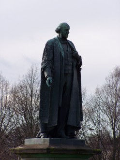 Statue of Henry Austin Bruce, 1st Lord Aberdare, overlooking Cardiff University