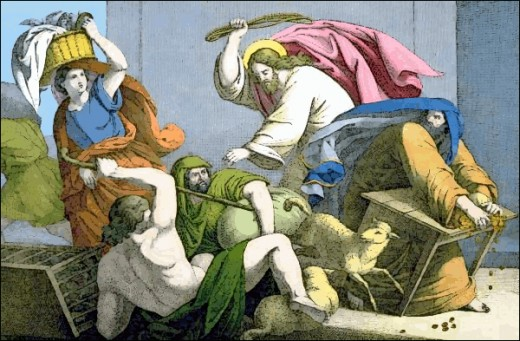 Jesus is shown in the only recorded instance of violence during his ministry when he drove the money changers out of the temple accusing them of turning a house of prayer into a den of thieves.