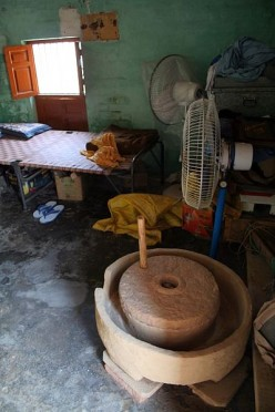 Stone hand grinder in a house in Punjab.