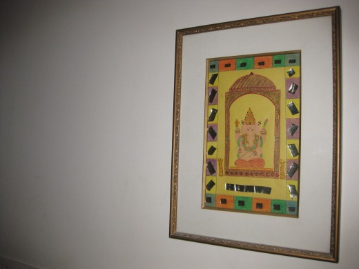 My painting of God Ganesha.  This picture was my rehearsal for the school card making competition