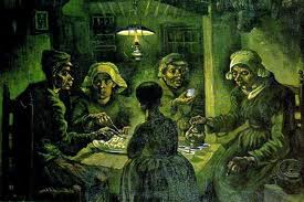 Slightly grotesque, this was painted when Van Gogh was still painting people.  They are called the Potato Eaters because that is their main food staple in the painting.