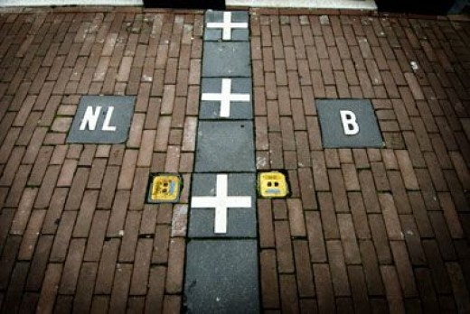 Netherlands and Belgium Border Line