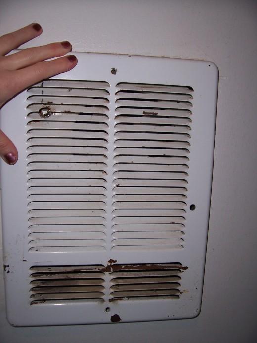 The old, broken heater