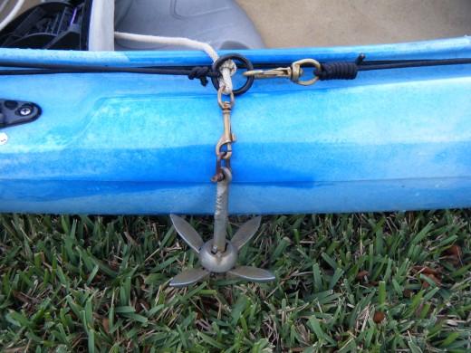 A folding anchor on a trolley.