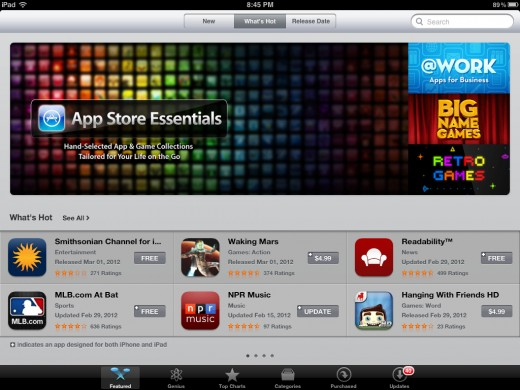 Screenshot of the Apple App Store which has over 500,000 apps available to download