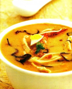 Chicken and Prawn Noodles in Coconut Broth Recipe.