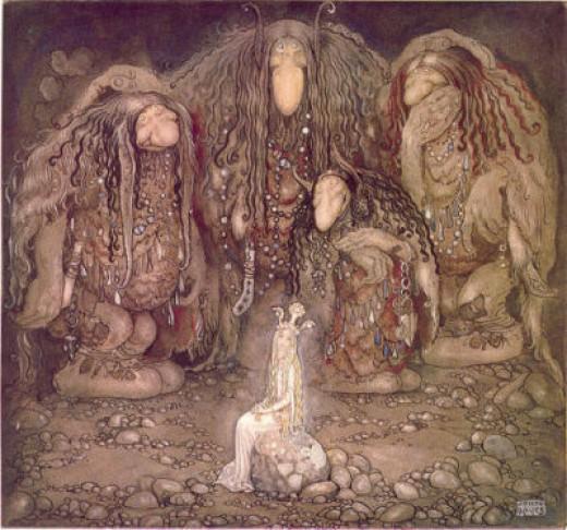 Trolls with fairy princess, public domain illustration