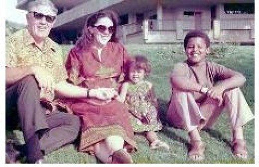 Barry Obama with Mom (Ann) & Grandfather in Hawaii, circa early 70's