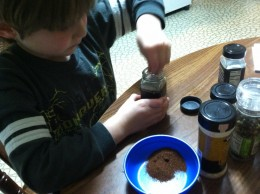 My 6 year old helps by measuring and combining spices to make homemade taco seasoning