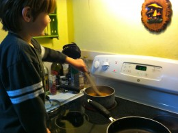 With proper supervision, children can help stir food on the stove top
