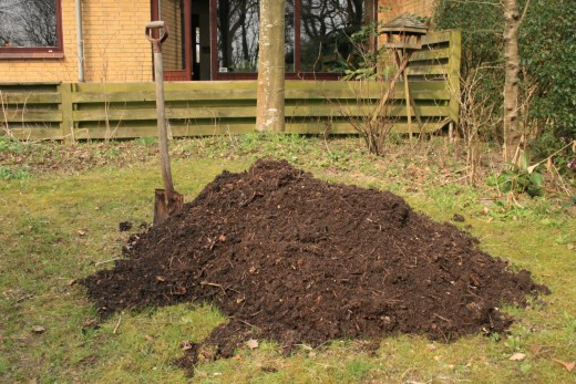 A compost heap for a home garden.