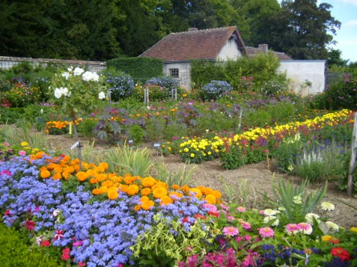 Flower garden of the Chateau de Bouges