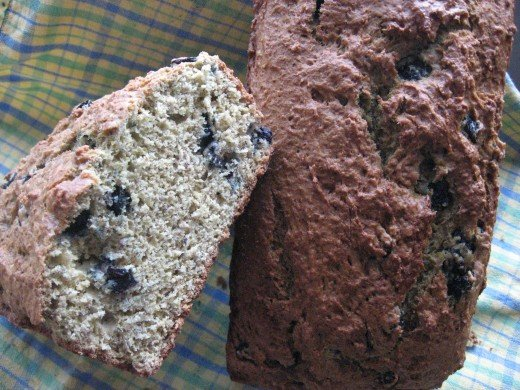 Freshly-baked Blueberry Banana Bran Breakfast Bread Loaves