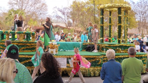 "The Girl Scouts celebrated 100 years of scouting with this beautiful float that was playing the song, ""My Girl."""