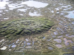 In Northern Canada, the natural polygons in the foreground are formed by alternate melting and refreezing of the permafrost.