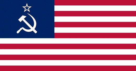 Flag of the new United Socialist States Republic (USSR) of America. Could it be happening to voting in America? The signs are clear. We're becoming socialistic and we already have two Communist Manifesto planks in place. Copyright Rod Martin, Jr.