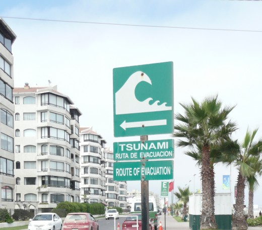 A tsumani evacuation sign, seen along La Serena seafront.