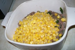 Add the corn and spread evenly.
