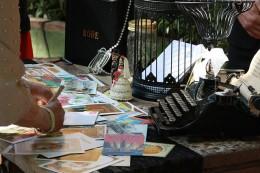postcards and typewriter