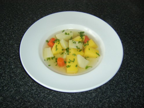 Mixed root vegetables, cooked in vegetable stock and served garnished with chopped parsley