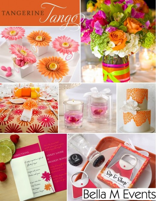 PINK ORANGE GREEN WEDDING INSPIRATION BOARD